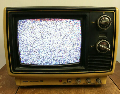 Vintage 70s 80s CRT Sears Solid State TV Television Video Game Small Mid Size