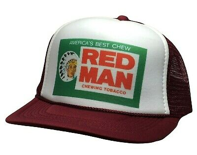 Vintage Red Man Chew Hat Trucker 80s adjustable snap back cap Maroon New