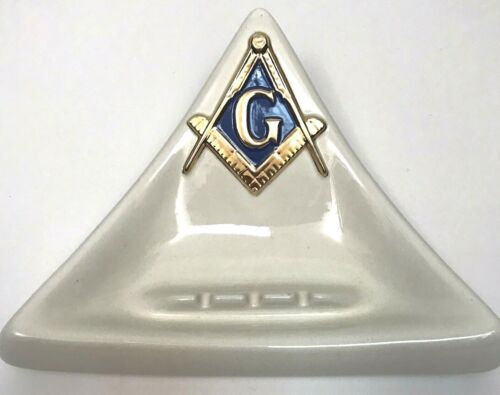 VTG Freemason Masonic Ashtray G Compass Big Triangle Handmade Ceramic Man Cave