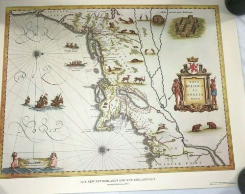 Map Art Print The New Netherlands and New England 1635 Willem Blaeu 24x18