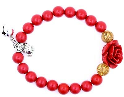 Rot lackierte Rose und Perlen Stretch Armband mit Jingle Bell