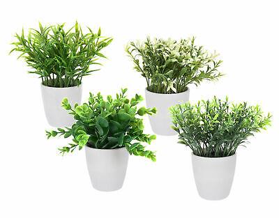 4x Kunstpflanze im Blumentopf klein - Tisch Deko Pflanze künstlich Kunstblume
