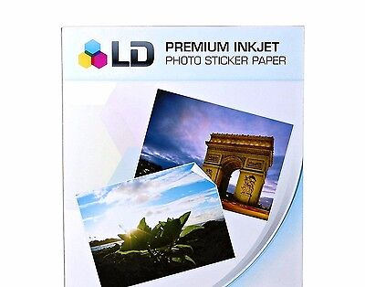 5 Sticker Paper LD Full Sheets White Glossy Inkjet or Laser Photo Decals Printer