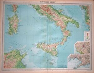 1920-LARGE-MAP-SOUTHERN-ITALY-ENVIRONS-NAPLES-ROME-23-x-18