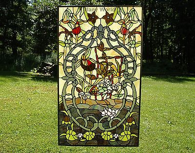 """20"""" x 34"""" Handcrafted Tiffany Style stained glass window panel water lily Lotus"""