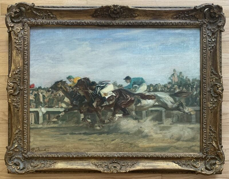 Angelo Jank Original Signed Horse Racing Oil Painting