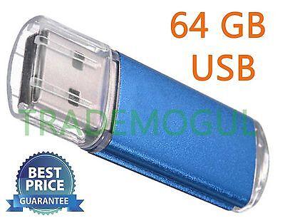 Sleek BLUE 64GB BRAND NEW USB 2.0 Thumb Pen Flash Drive Memory Stick Storage
