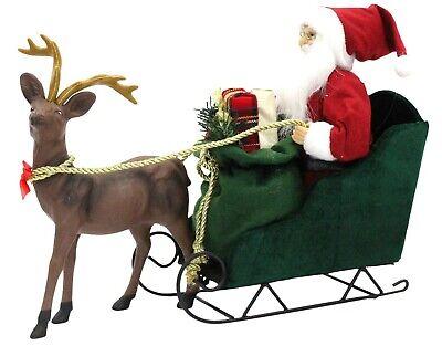 Grande Santa En Trineo Con Reno Papá Noel Carro Soporte Navidad Regalos