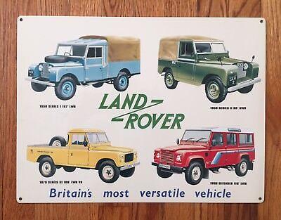Land Rover Defender Range Jeep Off Road 4WD SWB LWB UK Vintage Poster Metal Sign
