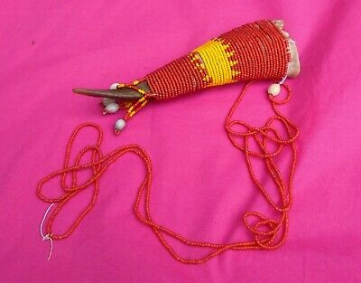 Nice Unusual Beaded Beadwork Horn. Native American / Tribal African