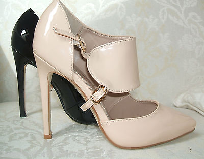 BNWB SIZE 3 4 5 NUDE BLACK PATENT HIGH HEEL CUFF FRONT OFFICE FORMAL COURT SHOES Patent 3 3/4