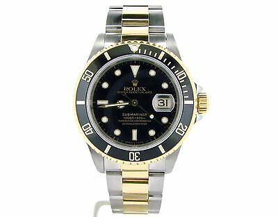 Mens Rolex Submariner Date 2tone 18K Yellow Gold Stainless Steel Watch Black Sub