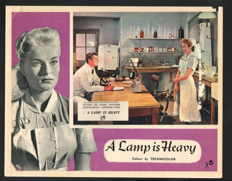 Lamp is Heavy Lobby Card-George Baker and Belinda Lee in a laboratory.