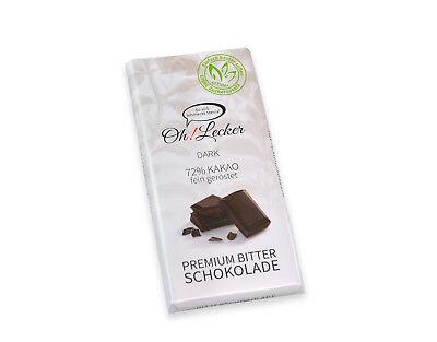 Oh! Lecker - Stevia Zartbitterschokolade ohne Zuckerzusatz mit 72 % Kakao 80 g