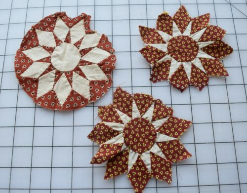 9348 3 Antique 1860-80s Compass quilt block, madders, red/yellow floral