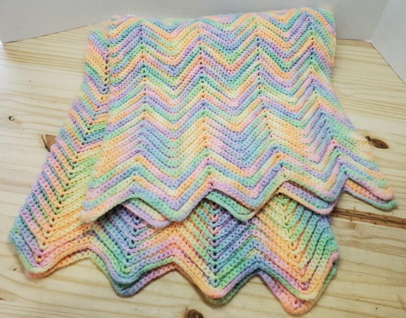 """Hand Crocheted Pastel Baby Blanket Afghan 31"""" x 42"""" [C-EEM]"""