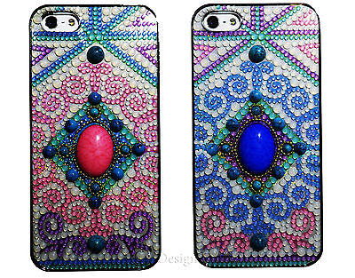 Big Stone Patterns (Big Stone Matte Vintage Pattern Jewelry Bling Case For Iphone 5 5S Pink )