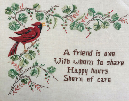 VTG Framed Embroidered Friendship Poem Motto Cardinal Bird Flowers Embroidery