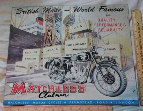 vintage Matchless Motorcycle sign embossed collectible old British cycle 15x13