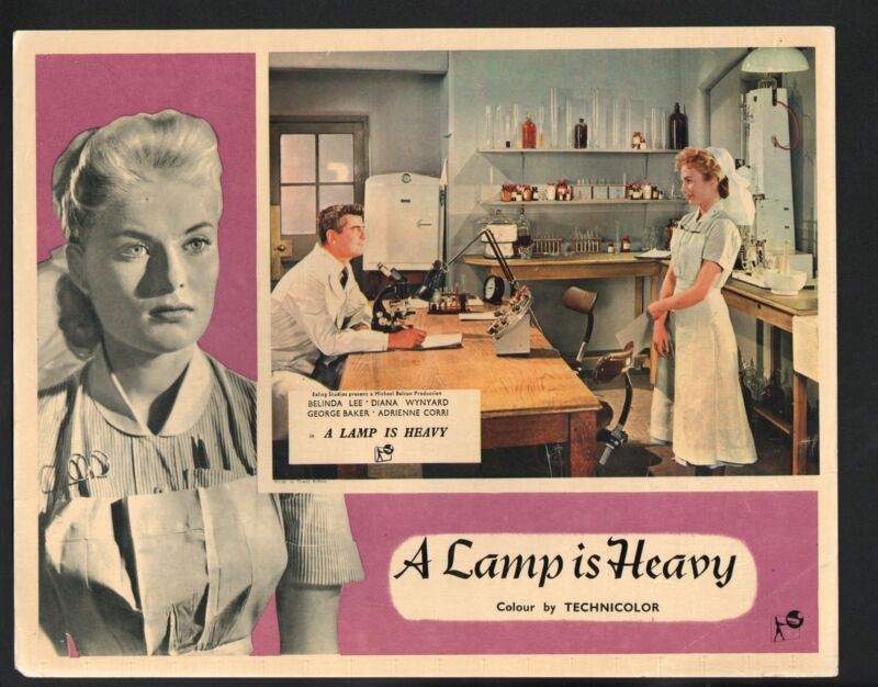 Lamp is Heavy Lobby Card- Belinda Lee with George Baker in a lab.