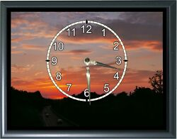 Sunset Desk or Wall Plaque Clock 7x 9 with Photo Realistic Picture