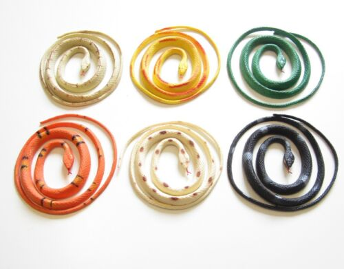 """6 NEW RAIN FOREST COILED RUBBER SNAKES TOY REPTILE FAKE JUNGLE SNAKE 36"""""""