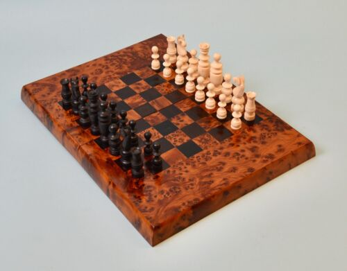 Antique French Bone Regence Pattern Chess Set & Elm Wood Games Board
