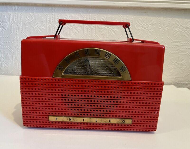 Vintage 1954 Philco B652 Portable Tube Radio Cherry Red 1950's B-652 WORKS!