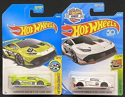 Hot Wheels Lamborghini Huracan LP 620-2 Super Trofeo Green & Rare Hawaii Card