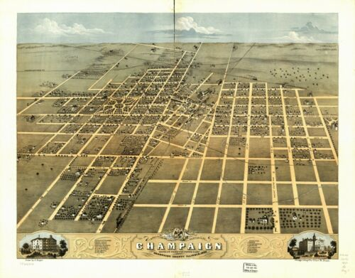 1869 CHAMPAIGN County panoramic old ILLINOIS map IL 9