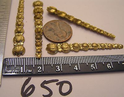 4 Vtg 51x8mm Brass 9 Stacked Flowers Art Nouveau Jewelry Findings Stampings Lot