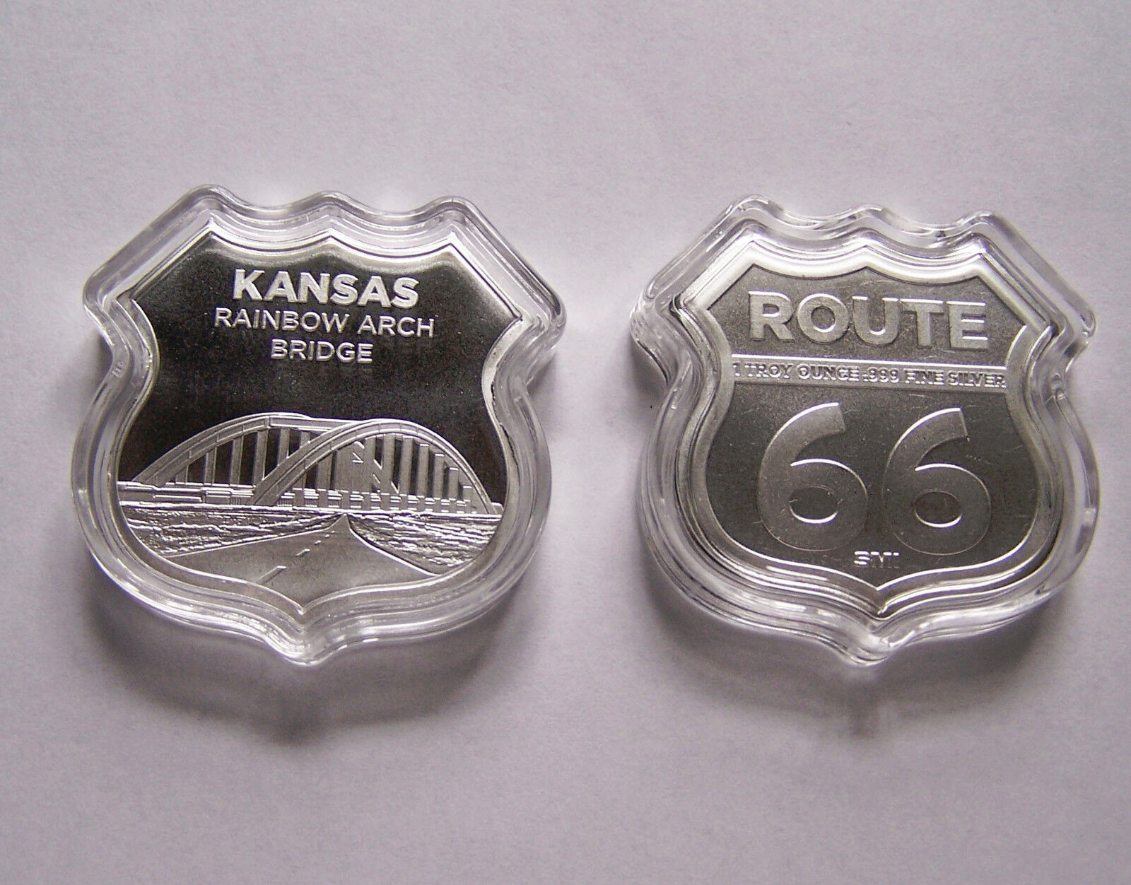1 oz Silver Route 66 Shield - Kansas Rainbow Arch Bridge