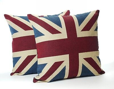 Union Jack Cushions (A Pair of Vintage Union Jack Cushions (Complete with Pad ))