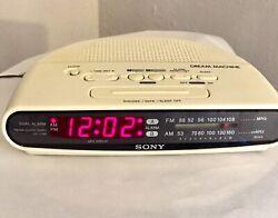 Sony Dream Machine FM/AM Clock Radio Model ICF-C390 Cream Colored Dual Alarm