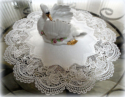 "Classic Rose Lace Doily European Round 16"" Table Topper Antique White"