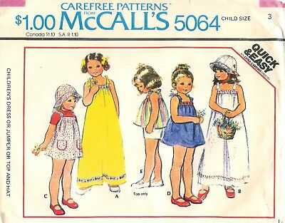 - Vintage 1976 McCalls # 5064 Sewing Pattern Childs Dress Or Jumper Top Hat Size 3