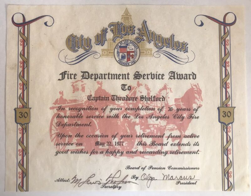 Vintage Los Angeles Fire Department 30 Year  Service Award 1977