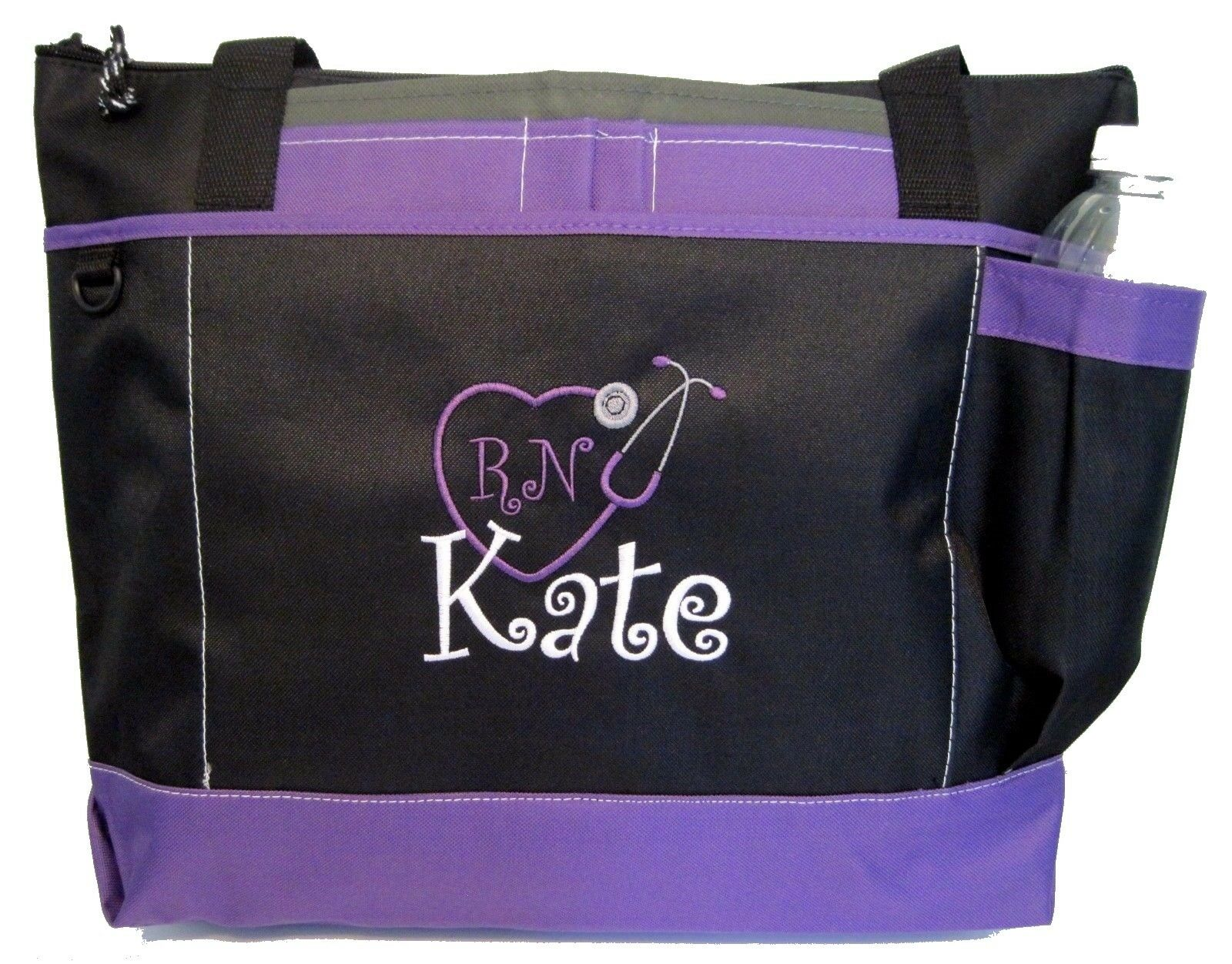 Personalized Tote bag book monogram purple NEW business