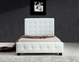 Huey White PU Leather Bed Frame King Single