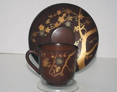 19th Century Lacquer Cup and Saucer with Plum Blossoms