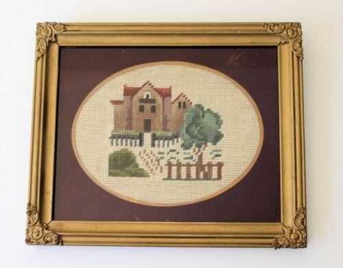 vintage framed needlepoint in antique gold frame house cottage