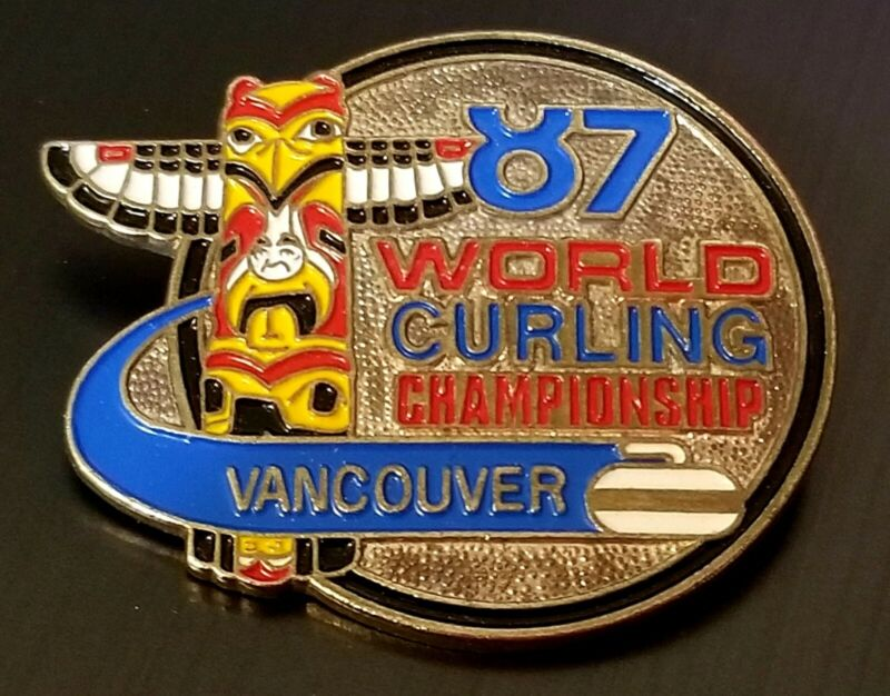 1987 World curling Championship Vancouver 87  BC enamel pin Totem pole