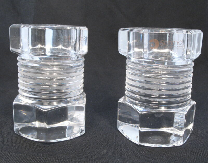 SCHMID CRYSTAL GLASS BOLT NUT CANDLE HOLDER - PAPER WEIGHT - SET OF 2