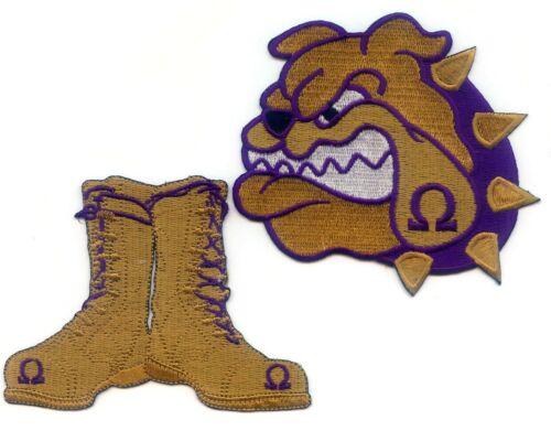 "OMEGA PSI PHI Shield - Bulldog - Boots Patch Set (4"") Emblems crest"
