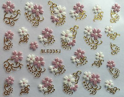 Pink White And Gold (Nail Art 3D Decal Stickers White & Pink Flowers Gold or Silver Accents)