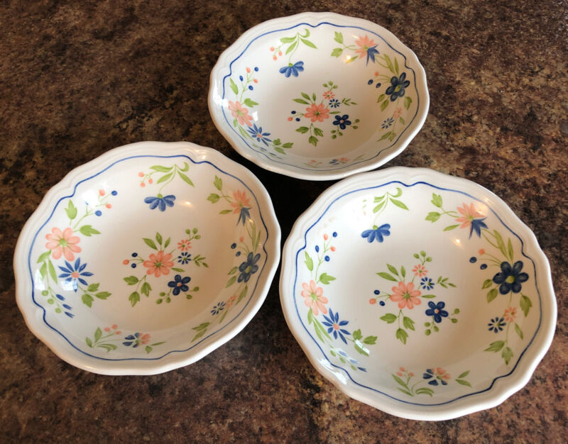 """3-Sears COUNTRY FRENCH IRONSTONE, 6 3/4"""" CEREAL BOWL, PEACH&BLUE FLOWERS, GREEN"""