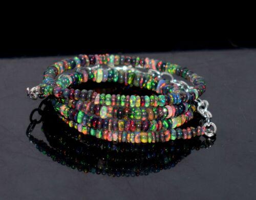 "26Crt 16""Natural Ethiopian Black Opal Wello Fire Opal Gemstone Bead Necklace M08"