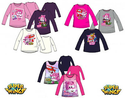 Rosa Mädchen T-shirt (Super Wings Langarmshirt Shirt T-Shirt Lila Blau Pink Weiß Rosa Mädchen Dizzy)