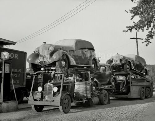Vintage 1937 Chevy truck Auto Transport carrier photo Commercial Carrier Detroit