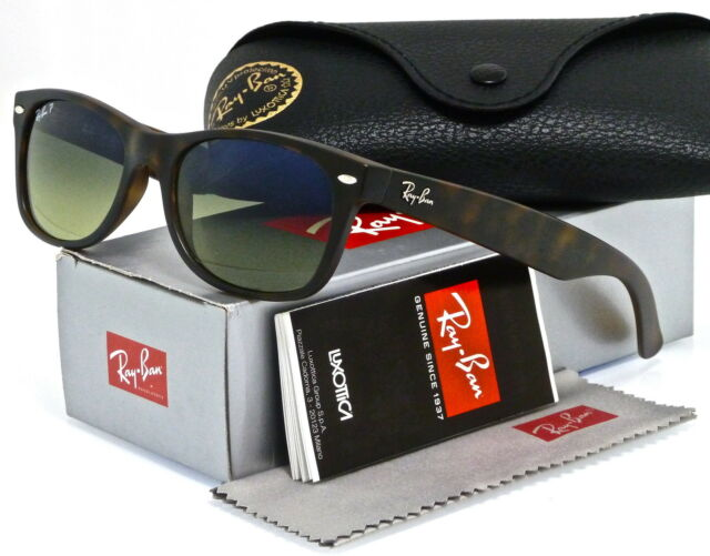 ray ban havana polarized sunglasses  ray ban new wayfarer matte havana l grad blue green polar mir rb2132 894/